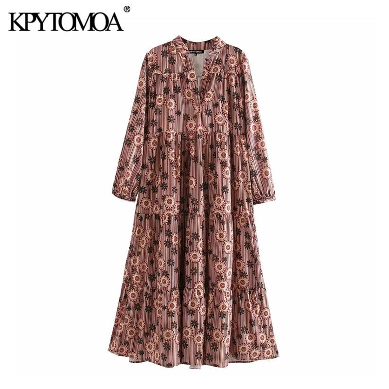KPYTOMOA Women 2020 Chic Fashion Printed Midi Dress Vintage V Neck Three Qualter Sleeves Female Dresses Casual Vestidos Mujer