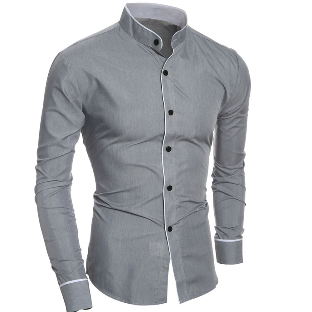 Casual Long Sleeve Men Shirt Solid Color Luxury Shirts For Men Slim Business Fashion Stand-Collar Shirts 2019 Long Sleeve