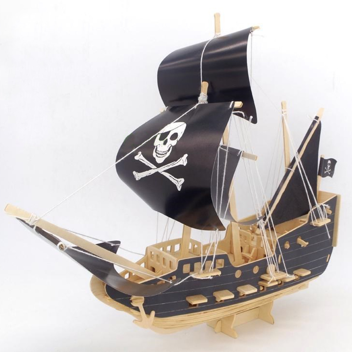 Pirate Boat Model DIY Wooden 3D Puzzle Woodcraft Construction Kit Ship Wooden Model Puzzle Educational Jigsaw Toy For Children
