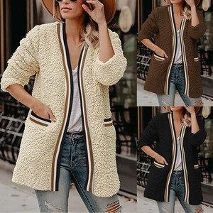 Fashion Women Top Winter V-neck Solid Long Outerwear Solid Color Coat Womens Fashion Clothing Платье На Осень Теплое