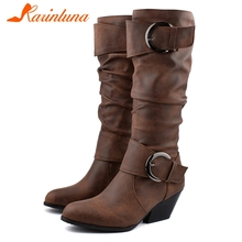 KARINLUNA Brand New Western Boots Women Mid Calf Belt Bukle Shoes Woman Casual Party Winter Autumn Plus Size 34-48