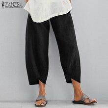Vintage Women Cotton Linen Wide Leg Pants