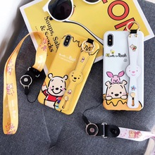 Cartoon Couple Winnie Pooh pig Couple Phone Case For iPhone 8 7 6 6s Plus X XR Xs Max Matte silicone back cover with Wristband