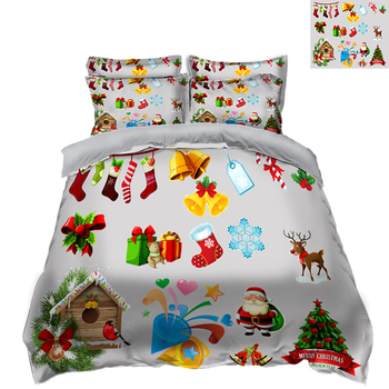 Festive Christmas Tree Printed Bedding set kids Bedding Duvet Cover set  Soft Fabric Quilt Cover Pillowcase 3pcs/set