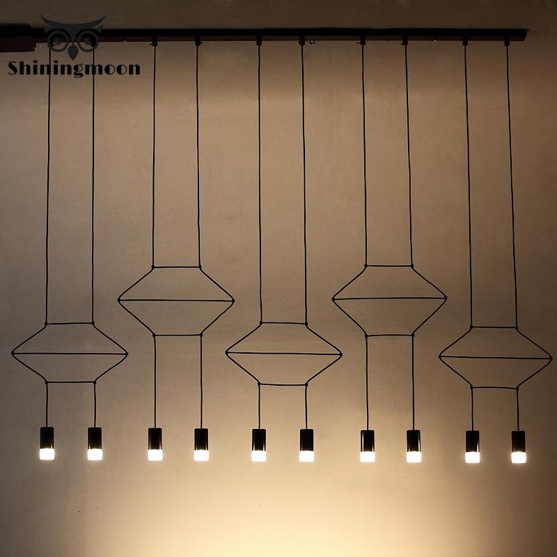 Line Nordic Design Personality Bar Pendant Lights Arts Exhibition Room Office Led Suspension Lamp Cafe Home Decor Light Fixtures