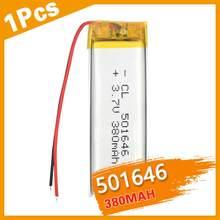 Batterie li-ion Rechargeable, 3.7V, 380mAh, 501646 Lithium polymère, pour Mp3, Mp4, Mp5, PAD, DVD, E-book, bluetooth