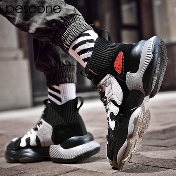 BESCONE Fashoin Mens High Top Sneaker Breathable Mesh Outdoors Elastic Socks Mouth Casual Flats Daddy Shoes S957