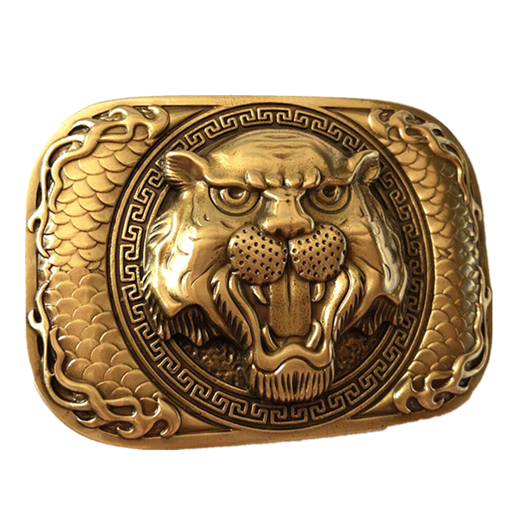 Pure Copper Vintage Antique Belt Buckle Tiger Head Western Cowboy Mens Fashion Fine Accessory