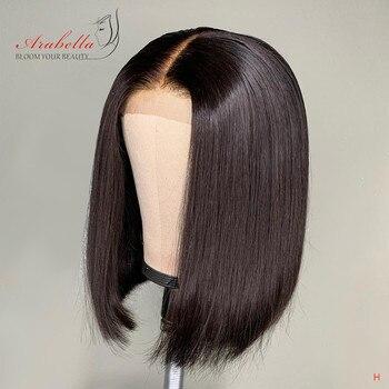 ผมตรง BOB Wigs 2 * * * * * * * 6 Kim K BOB วิกผมกลางบราซิล Virgin Hair วิกผม Pre Plucked Arabella สั้น BOB ผมวิกผม