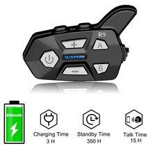 WAYXIN-auriculares para casco de motocicleta, intercomunicador de 1500M, 4 conductores hablando a la vez, Bluetooth, R9 Fm, 1 Uds.