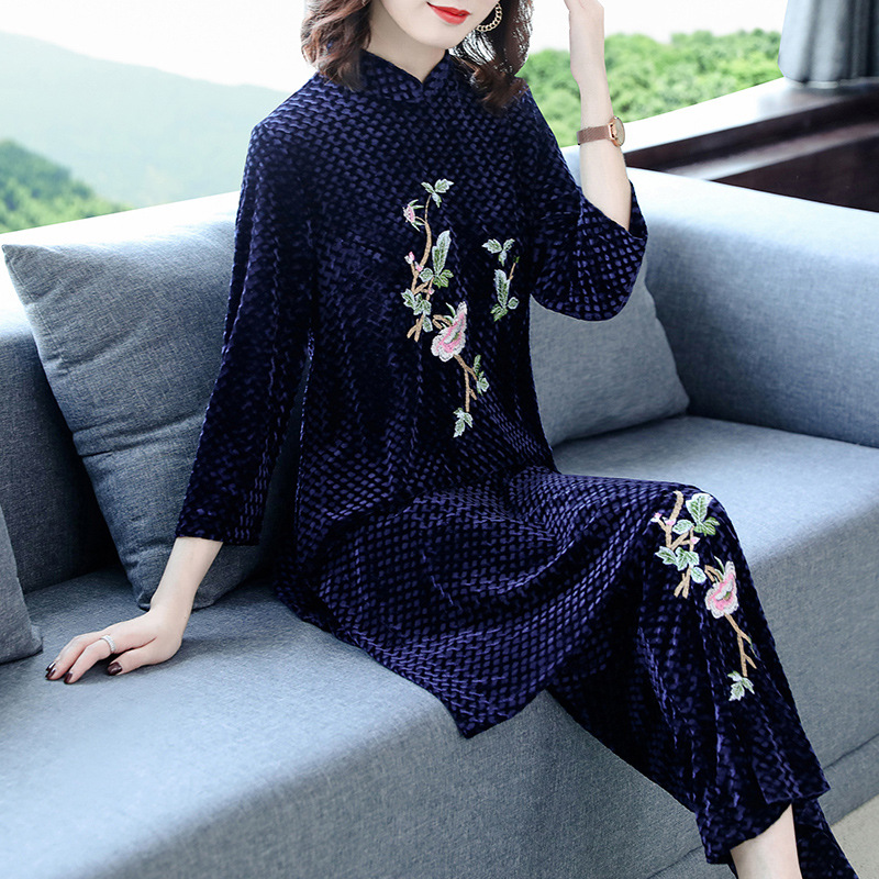 Velvet Two-Piece Women's Ethnic-Style Retro Embroidered WOMEN'S Dress Loose And Plus-sized Loose Pants Chinese Costume Set WOMEN