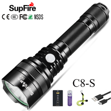 Super Powerful Led Flashlight SupFire C8 S Torch USB Linterna LED CREE T6 Rechargeable 18650 Flash Light Tactical Zaklamp 1100LM flashlight led linterna usb flash light supfire c8 s hand light lanterna hiking lamp for sofirn convoy c8 fenix bike light a025