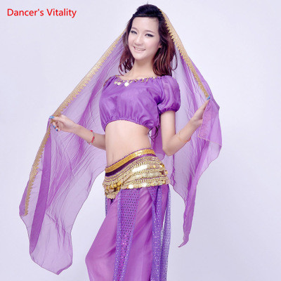 come on style shop Chiffon Embroidery Face Veil Belly Dance Kerchief Costume Bollywood Woman Dancing dark blue