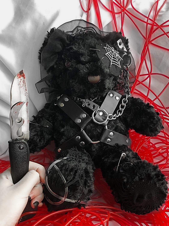 Lolita Cosplay Killer Bear Gothic Punk Chain Strap Cross Body Bag