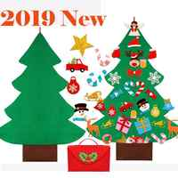 2019 DIY Felt Christmas Tree with Glitter Ornaments Freely Paste Wall Hanging Christmas Trees Kids Tollder Felt New Year Gift