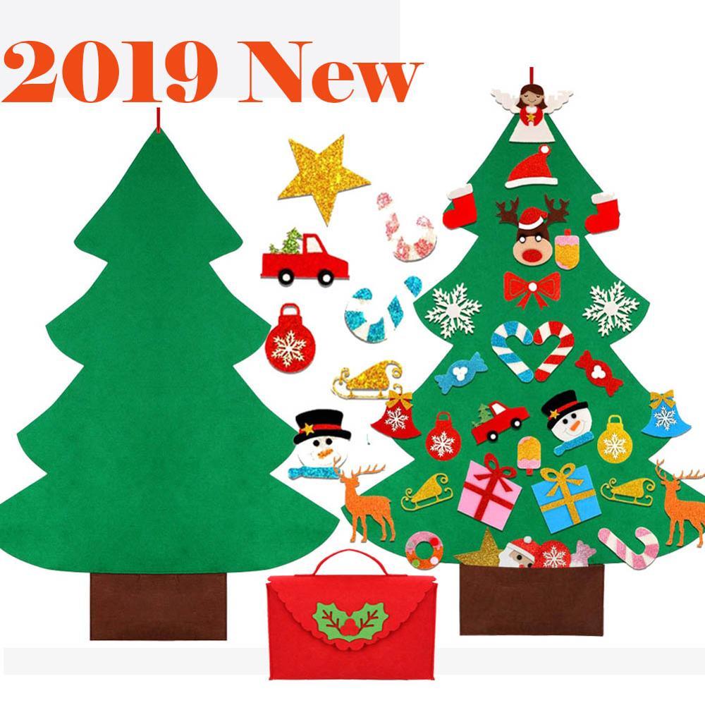 2019 diy sentiu árvore de natal com ornamentos glitter livremente colar parede pendurado árvores de natal crianças tollder sentiu presente de ano novo
