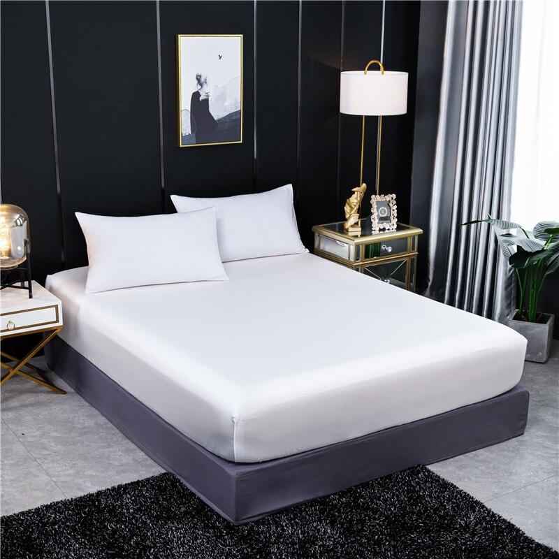 Drap-housse 100% en soie de mûrier naturelle avec bande élastique, drap de lit de luxe, couleur unie, Double taille Queen Size, housse de matelas en soie véritable