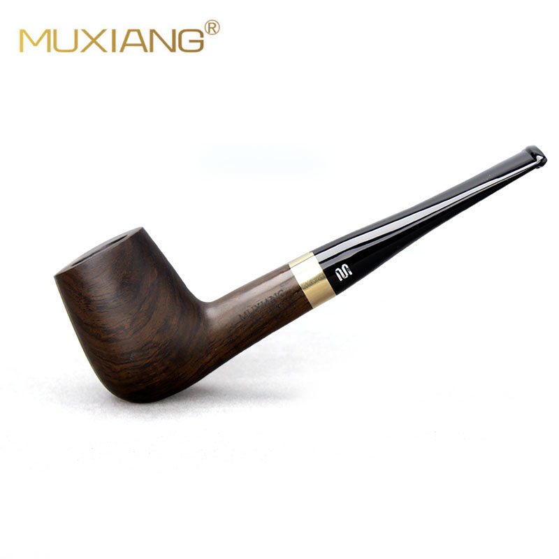 RU-New Smoking Ebony Wood Handmade Black Smoking Pipes Tobacco Pipe 9mm Filter Wooden Pipe Gift For Grandfather Father Ac0015