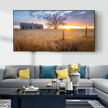 Landscape oil painting small wooden house on grassland art canvas painting living room corridor office home decoration mural