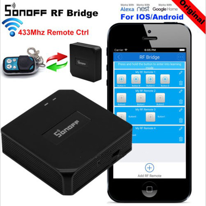 SONOFF RF Bridge 433MHz WiFi Wireless Switch Remote Controllers Smart Home Automation Module Compatible with Alexa /& Google Home