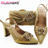 Gold Fashion African Style Royal Blue Sandals And Bag Set Autumn Woman High Heels Pointed Toe Shoes And Bag Set For Evening Part