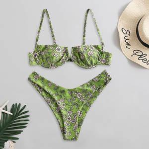Swimsuit Women Bikini-Set Padded Beachwear Bathing Floral Print Push-Up -J30