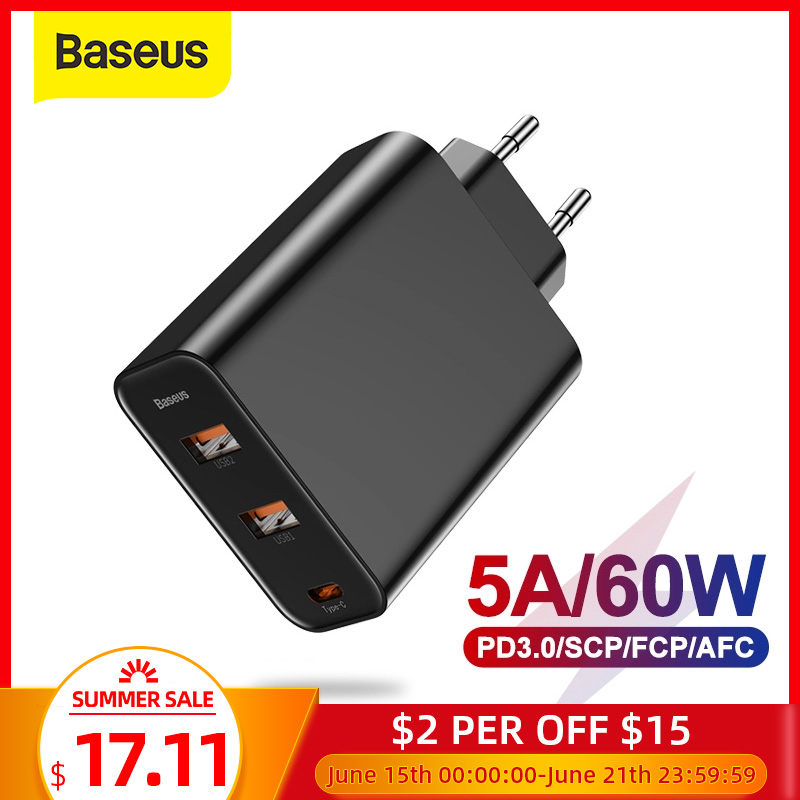 Baseus 3 Ports USB Charger with PD3 0 Fast Charger For iPhone 11 Pro Max Xr