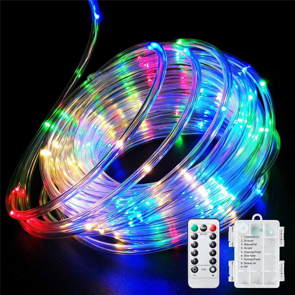 Remote&Timer Battery Rope Lights 5M 10M Warterproof Led Rope Tube String Lights For Indoor&Outdoor Christmas Wedding Garden