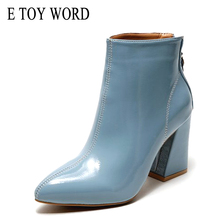E TOY WORD Patent leather ankle boots high heels female 2019 new women thick with Martin boots plus velvet pointed Booties women knsvvli new genuine leather ankle boots women chunky high heels pointed zip martin boots metal buckle decorate woman booties