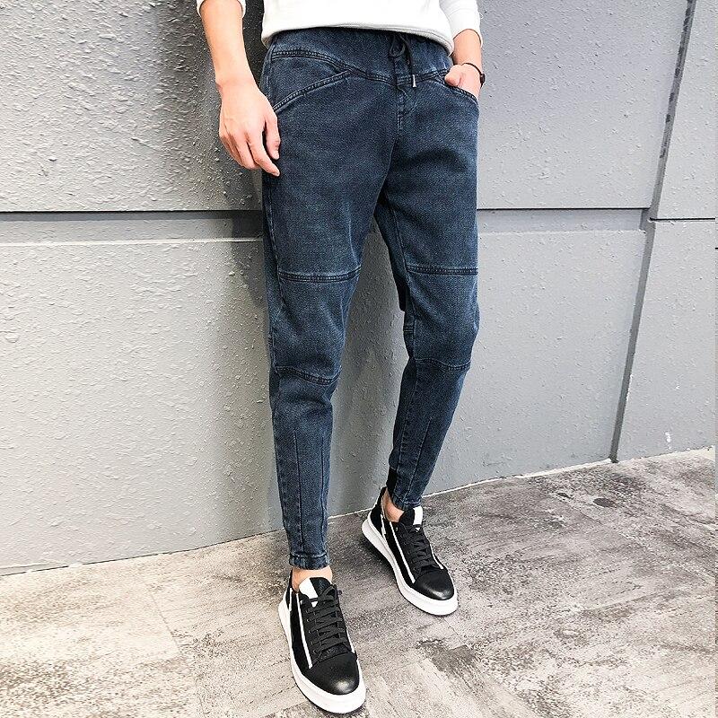 Winter Men Jeans Korean Patchwork Design Slim Fit Denim Pants Men All Match Casual Trousers Men High Quality Pantalones Hombre