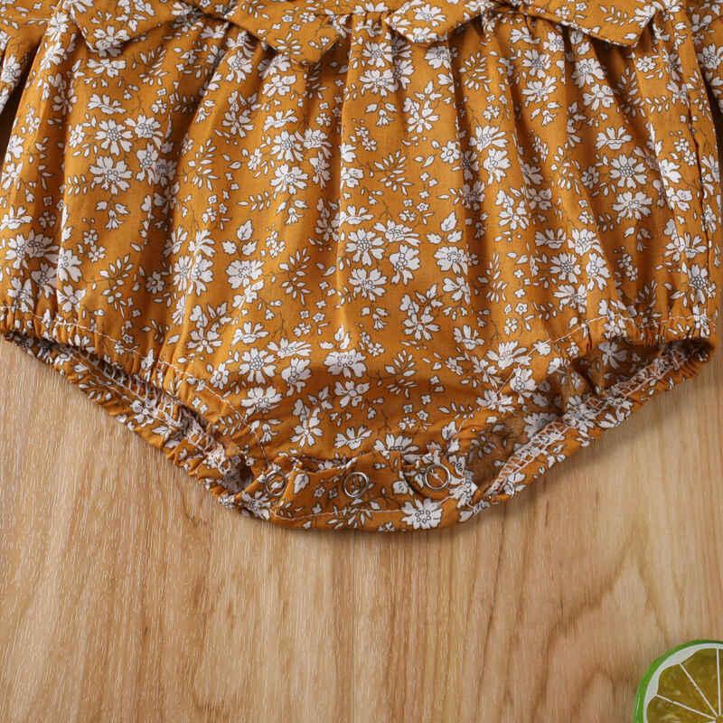 Nouveau-né enfant en bas âge bébé fille combinaisons florales volants Flare manches nœud body vêtements décontractés 0-18M