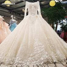 LS00349 1 vestido de novia cuello redondo mangas completas encaje con espalda descubierta flores rebordear Catedral train ball gown
