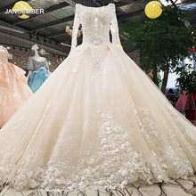 LS00349 1 wedding dress o neck full sleeves lace up backless flowers beading cathedral train ball gown коктельное платье