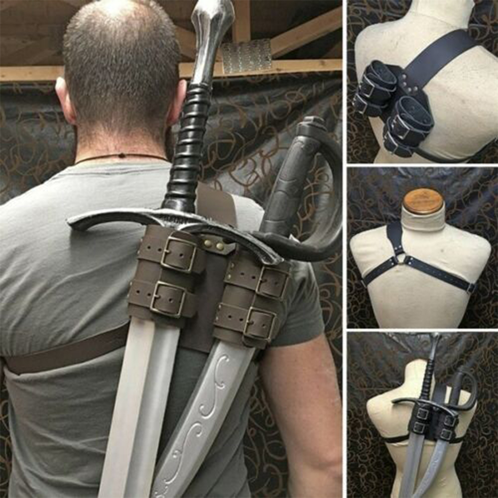 Cosplay Accessories Vintage Knight Leather Back Strap Scabbard War Games & Role-Playing Sword Holder Gothic PU Scabbard Case D30