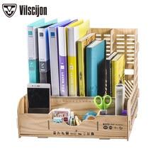 DIY Storage Box มัลติฟังก์ชั่ผู้ถือแฟ้มไม้เอกสารเดสก์ท็อป Office Desk Organizer อุปกรณ์ Vilscijon D9121