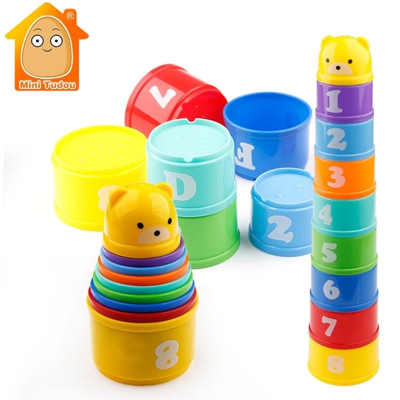 9 pçs brinquedos educativos do bebê 6 meses + figuras letras foldind stack cup torre crianças inteligência precoce