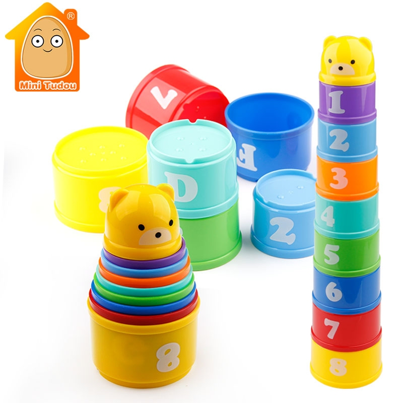 9PCS Educational Baby Toys 6 Month+ Figures Letters Foldind Stack Cup Tower Children Early Intelligence