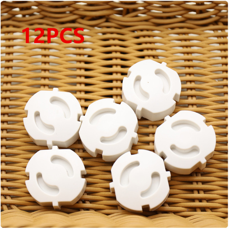 12pcs EU Power Socket Cover Electrical Outlet Baby Kids Safety Guard Protection Anti Electric Shock Plugs Protector Rotate Cover