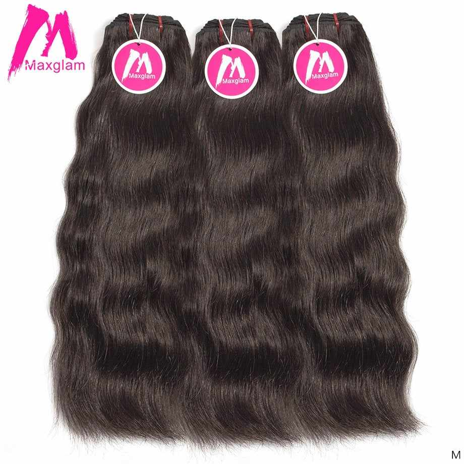 Maxglam Raw Indian Virgin Human Hair Weave Bundles Straight Short Long Hair Extension Natural Color for Black Women 3 Bundles
