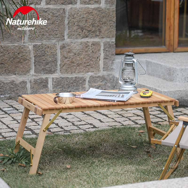 Naturehike New Camping Table Folding Egg Roll Wooden Table 40kg Bearing Stable Garden Travel Hiking BBQ Accessories