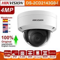 هيكفيجن DS-2CD2143G0-I 4mp H.265 POE IP كاميرا الأمن الأشعة تحت الحمراء الثابتة قبة كاميرا شبكة مراقبة مع SD فتحة للبطاقات كاميرا Hik 4mp IP
