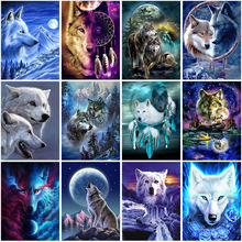 Diy wolf 5d diamond painting full square/round drill resin animal