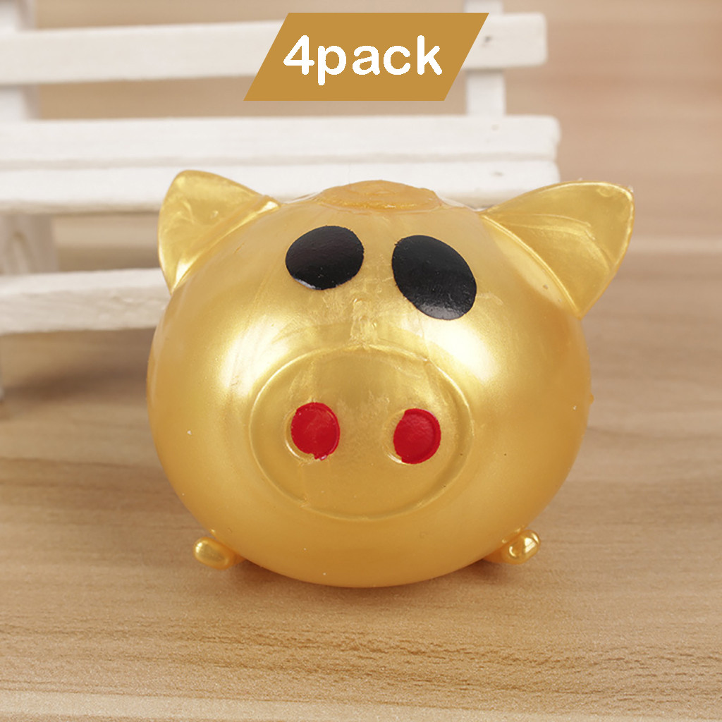 Kids Toys 4Pcs Jello Pig Cute Anti Stress Splat Water Pig Ball Vent Toy Venting Sticky Pig Toys For Children Christmas Gift