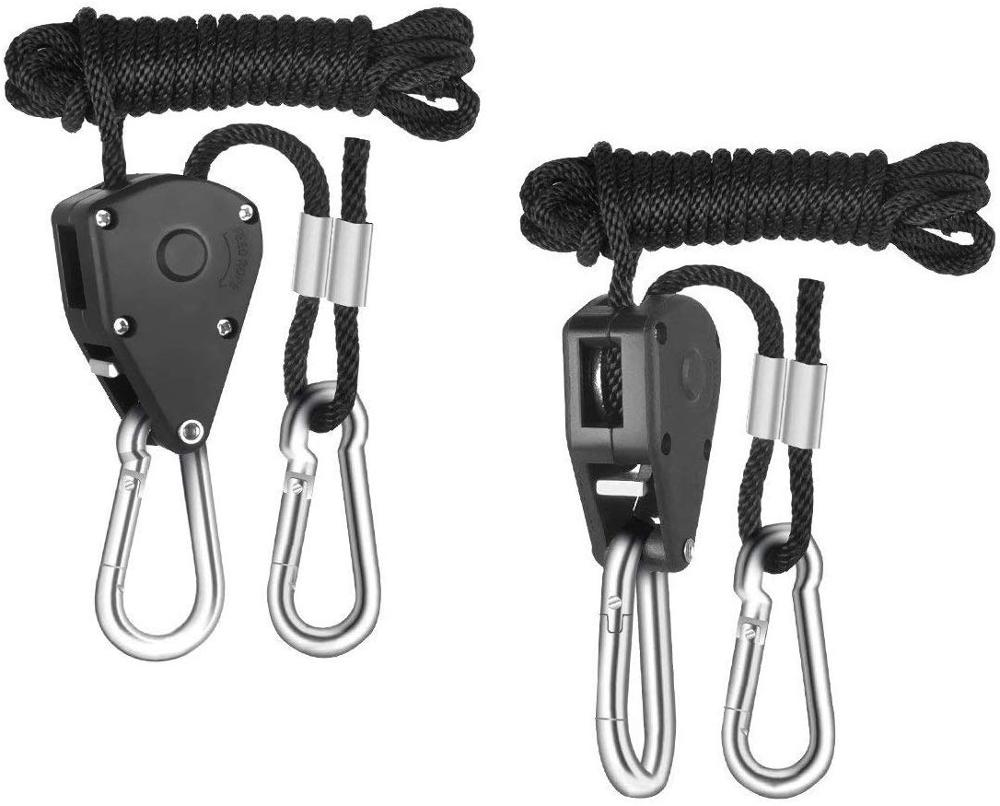 2pcs 1/8 Inch 8Feet Long Heavy Duty Adjustable Rope Clip Hanger For Grow Light Kit Hanging Ratchet Canoe Bow Stern Tie Down