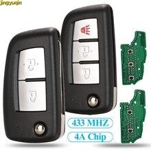 Jingyuqin 2/3 BTN Flip Remote Car Key 433MHZ 4A PCF7952E For Nissan Qashqai J11 Pulsar