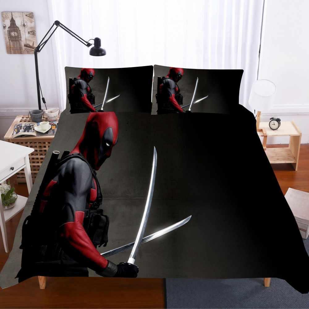 Deadpool komplet pościeli superbohater zestaw pościeli Zipper filmy zestaw poszewek na poduszkę poszewka pełna królowa król zestaw na pościel