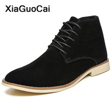 2020 Spring Autumn Men Ankle Boots Lace Up Male Desert Boots High Quality British Nubuck Leather Man Shoes Pointed Toe Big Size стоимость