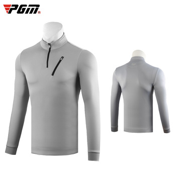 Pgm Golf Clothing Men Warm Windproof T-Shirt Long-Sleeved Zipper Golf Tops Comfortable Training Shirts D0836
