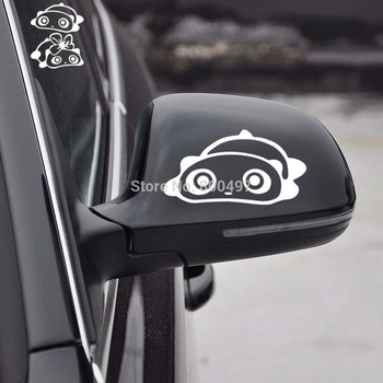2 x Lovely Panda Car Stickers Car Rear View Mirror Decal for Toyota Ford Chevy Volkswagen Honda Hyundai Kia Lada image
