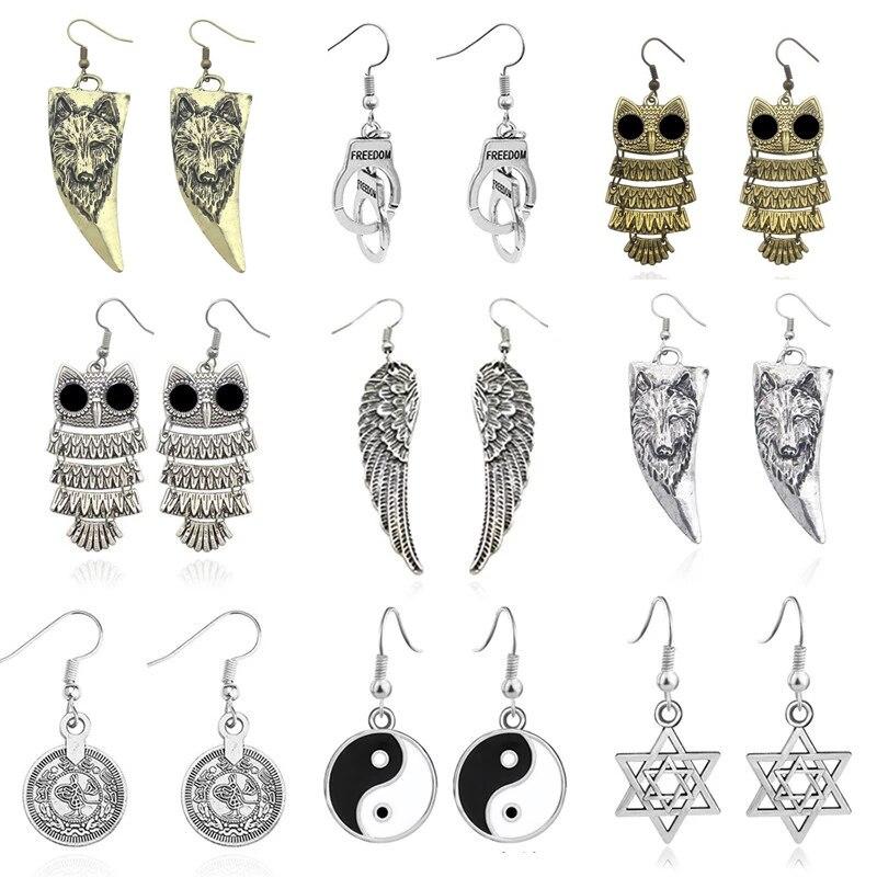 Vintage Angel Wings Earrings For Women Punk Skull Owl Wolf Handcuffs Tai Chi Hexagram Animal Earings Female Ear Jewelry Brincos